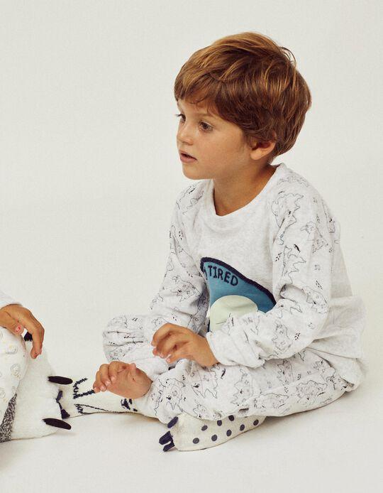 Pijama Veludo para Menino 'Brilha no Escuro', Cinza