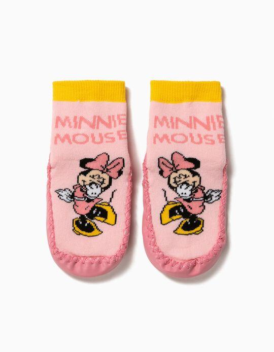 Meias-Pantufa Antiderrapantes para Menina 'Minnie Mouse', Rosa