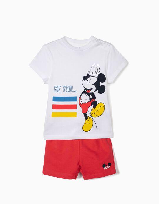 T-shirt e Calções para Bebé Menino 'Mickey', Branco e Vermelho