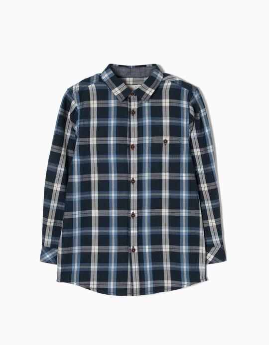 Check Shirt for Boys, Dark Blue