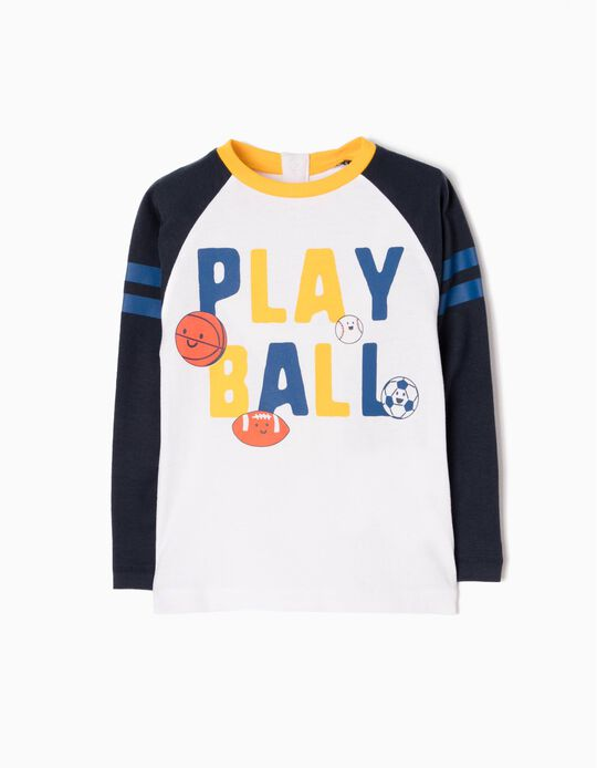 Long-Sleeved T-Shirt with Print, Playball
