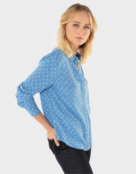 Loose-fitting Blouse with Floral Pattern