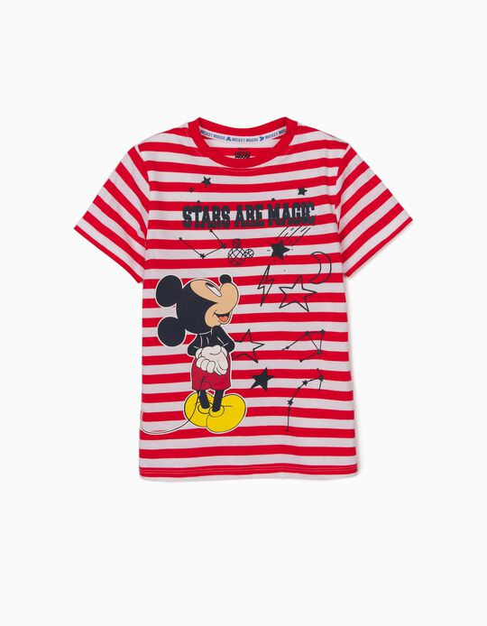Striped T-Shirt for Boys, 'Mickey Mouse Stars', Red/White