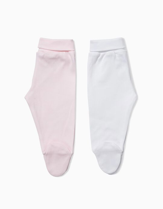 Pack of 2 Footed Trousers, Pink & White