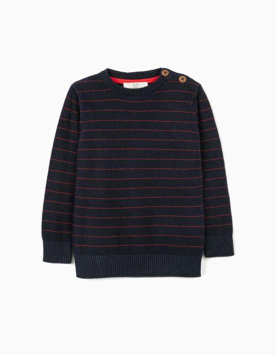 Striped Jumper for Baby Boys, Dark Blue
