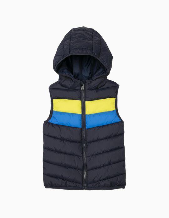 Hooded Bodywarmer for Boys, Padded, Dark Blue