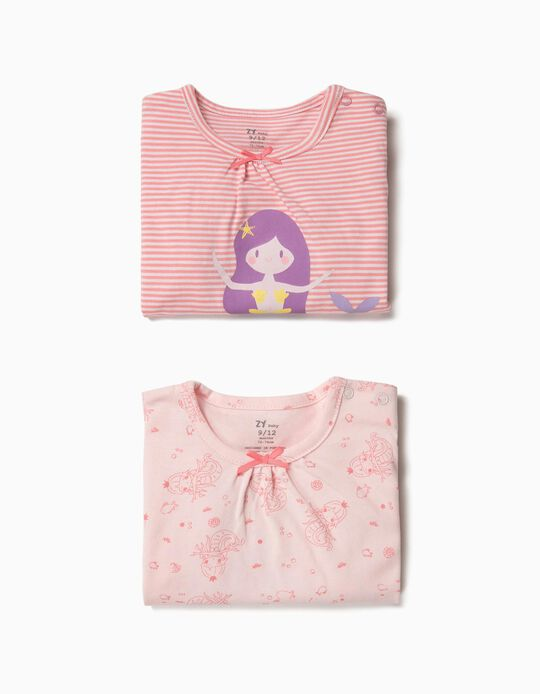 2 Babygrows para Bebé Menina 'Mermaid', Rosa