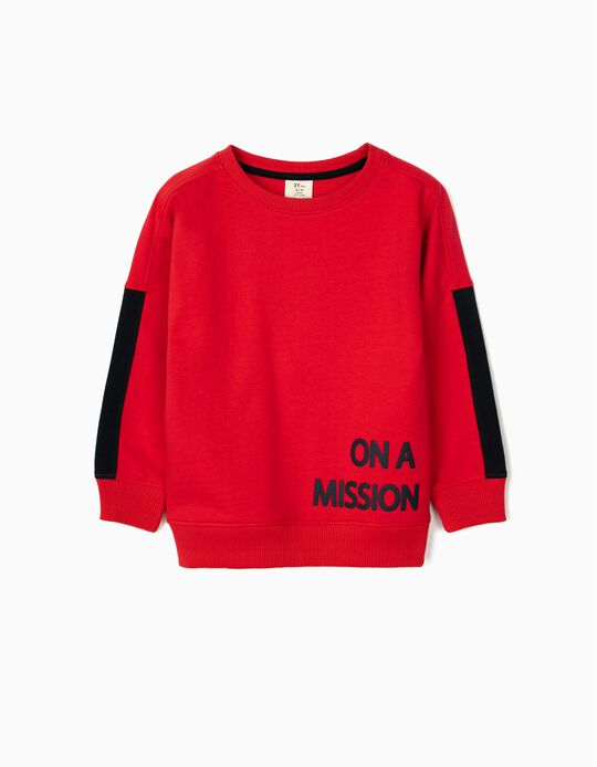 Sweatshirt for Boys, 'On a Mission', Red