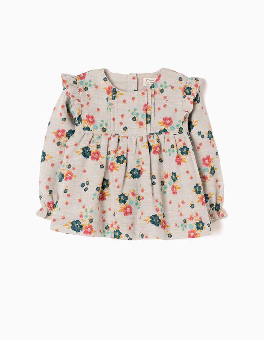 Blusa Bebé Menina Fluida com Flores e Folhos