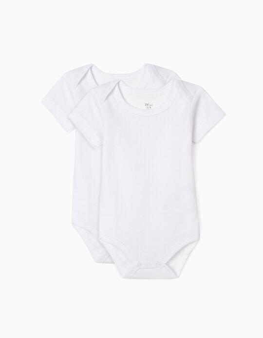 2-Pack Short-Sleeved Bodysuits, White & Blue