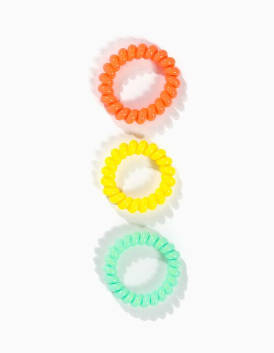 3-Pack Hair Elastic Bands for Girls, Multicolour