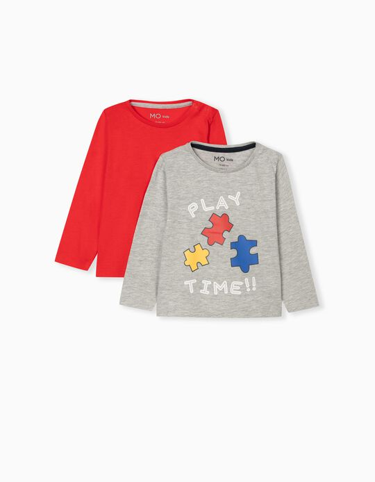 2 Long Sleeve Tops, Babies, Red/Grey