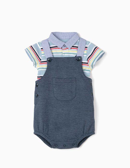 Jumpsuit & Polo Shirt Bodysuit for Newborn Boys, 'Bird', Multicoloured