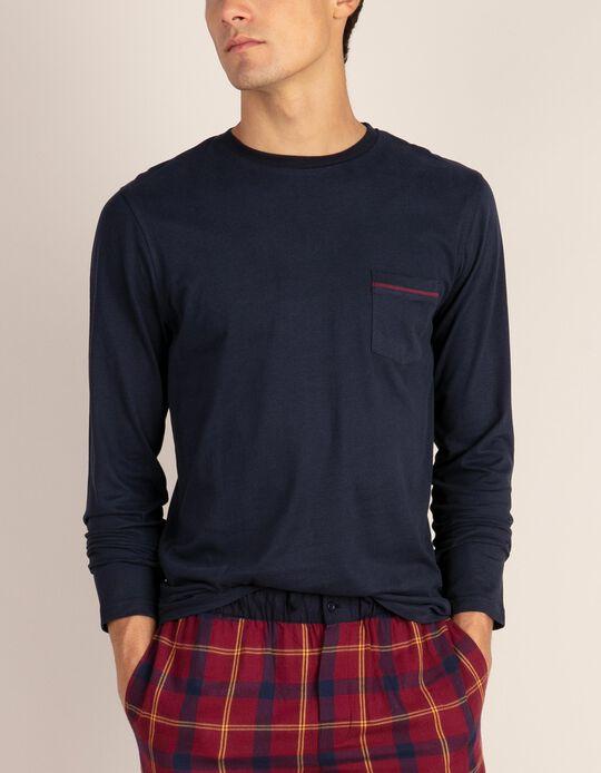 T-shirt de manga comprida de pijama com bolso