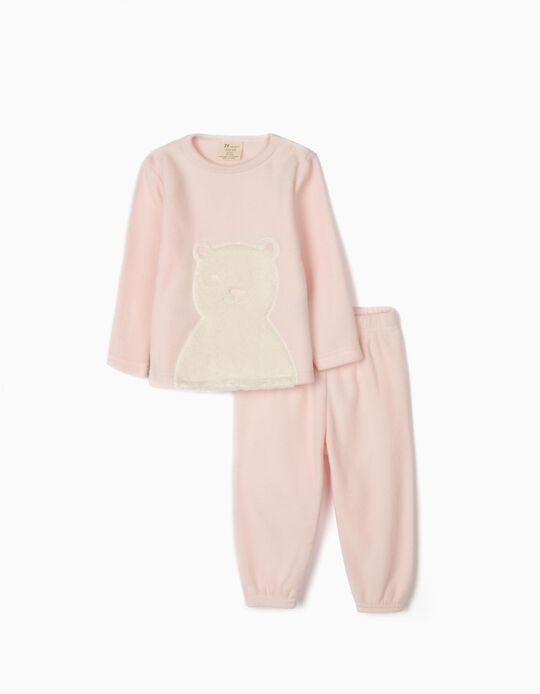 Pijama Polar para Bebé Menina ' White Bear', Rosa