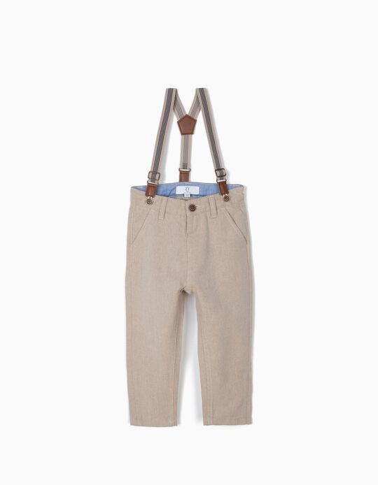 Chino Trousers with Suspenders for Baby Boys, Beige
