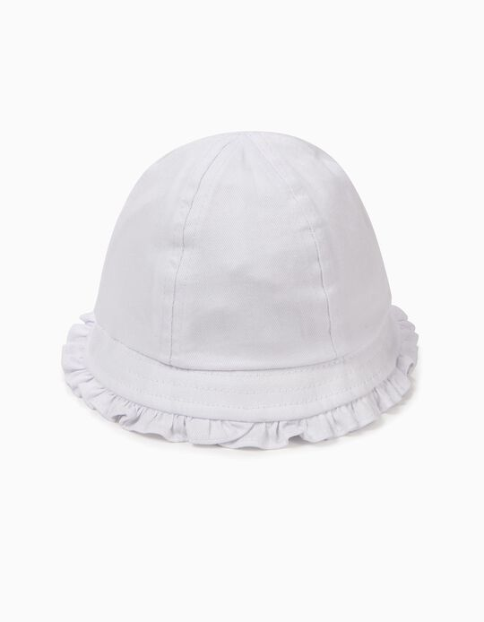 Hat for Baby Girls with Ruffles, White