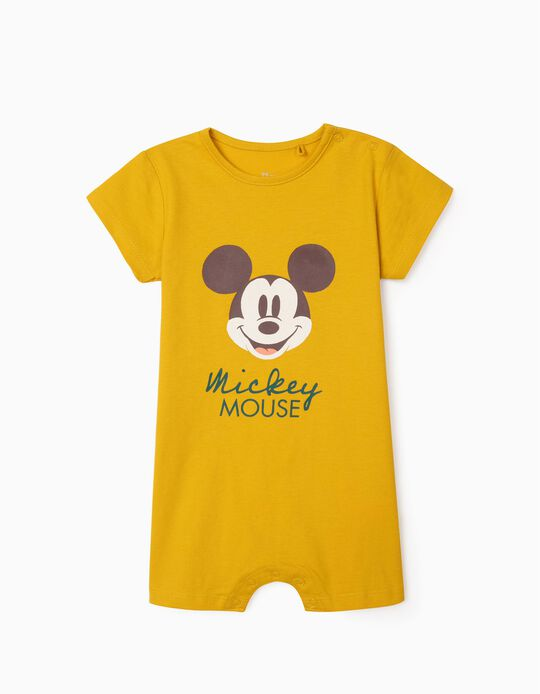 Organic Cotton Sleepsuit for Baby Boys, 'Mickey', Yellow