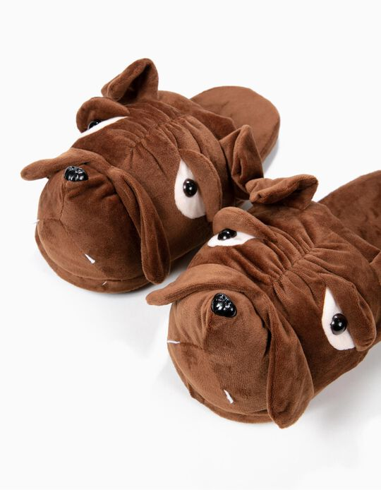 Pantufa Bulldog castanho