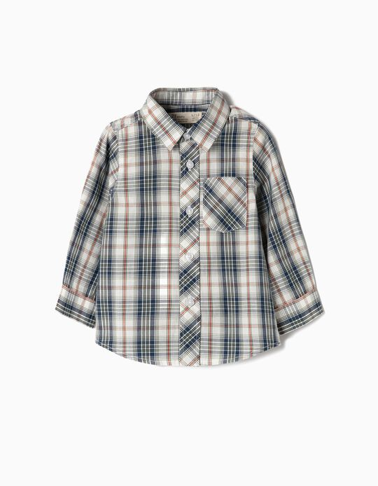 Long-Sleeve Shirt for Baby Boys 'Plaid', Green and White