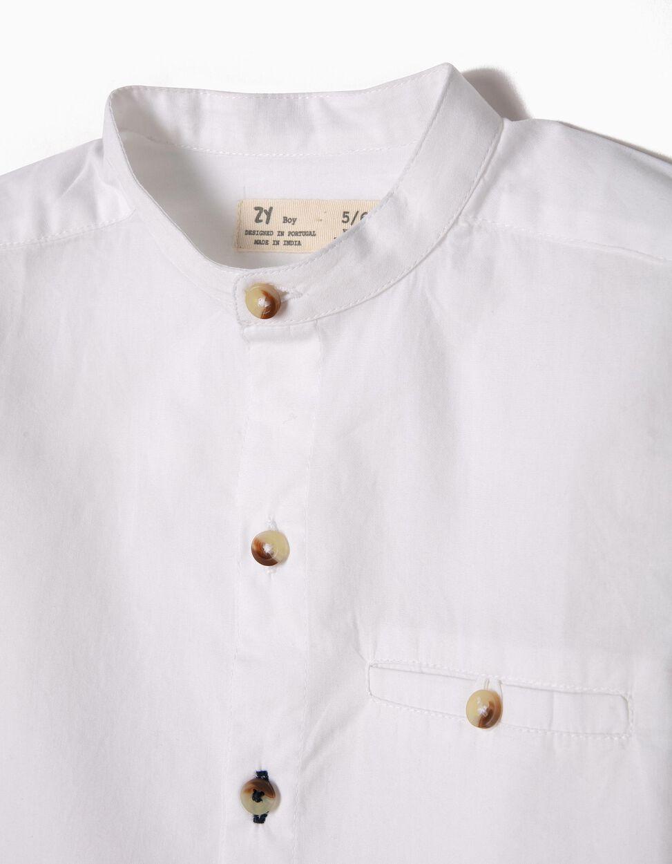 Camisa com Colarinho Mandarim Branca