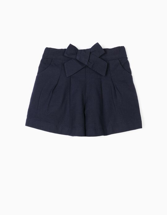 'B&S' Shorts with Bow for Baby Girls, Dark Blue