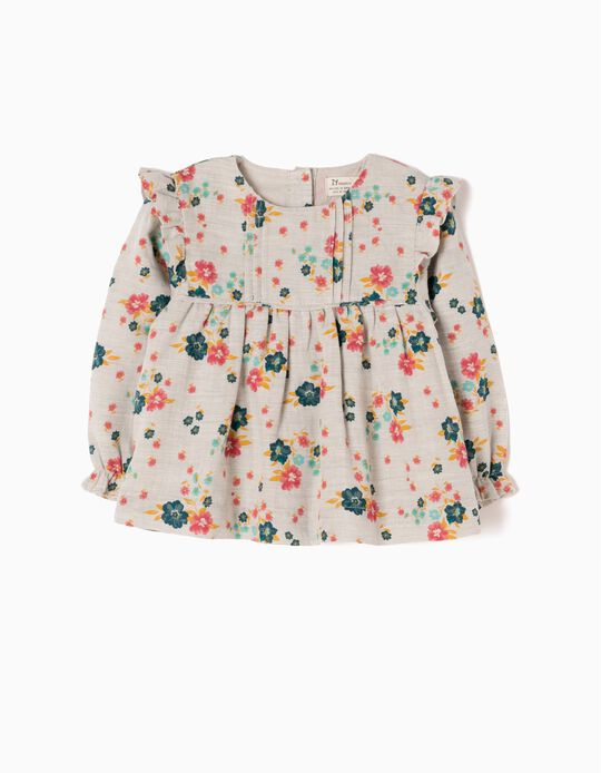 Loose-Fitting Blouse With Flowers & Ruffles