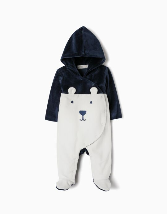 Hooded Velvet All-in-One for Newborn, White/Dark Blue