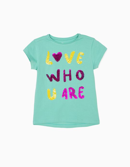T-shirt para Menina 'Love Who You Are', Verde