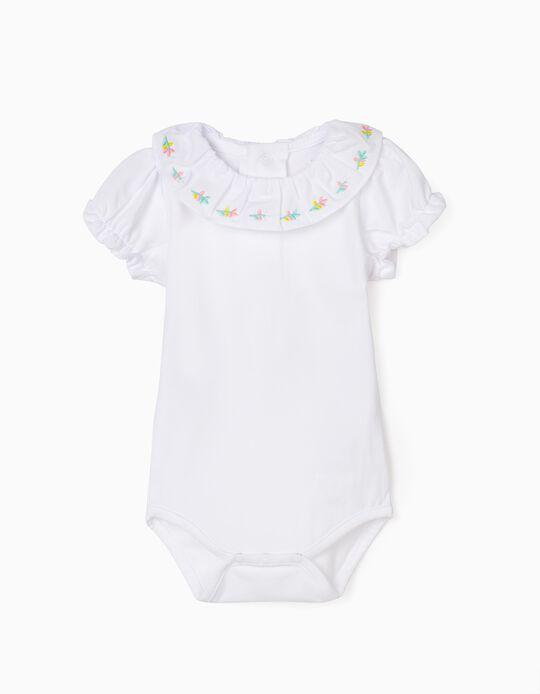 Bodysuit for Baby Girls, 'Flowers', White