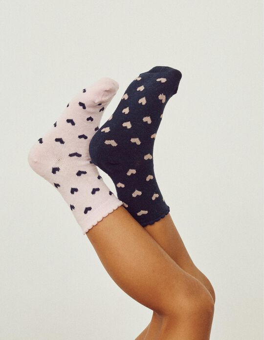 5 Pairs of Socks for Girls, 'Hearts', Pink/White/Blue