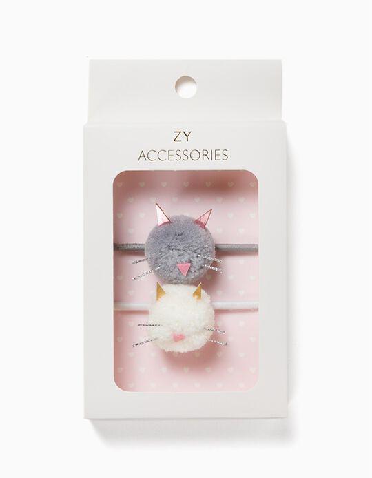 2 Elásticos Cabelo para Menina 'Cute Cats', Cinza/Branco