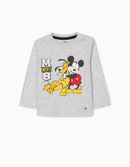 T-shirt Manga Comprida para Bebé Menino 'Mickey & Pluto', Cinza