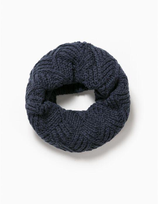 Gola malha tricotada azul