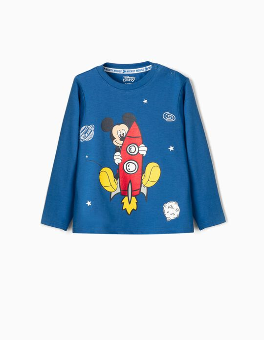 Long Sleeve Top for Baby Boys, 'Mickey Rocket', Blue