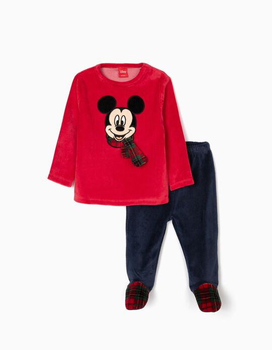Velvet Pyjamas for Baby Boys 'Mickey Christmas', Red/Dark Blue