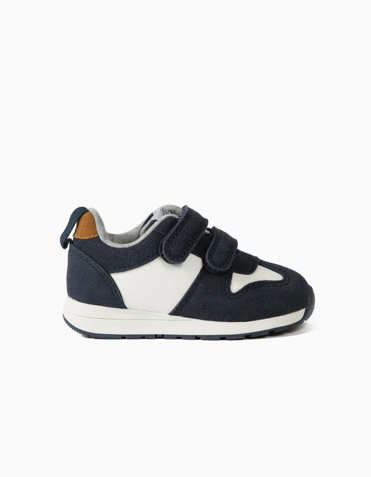 Trainers with Touch Fastening Tabs for Baby Boys, Dark Blue/White