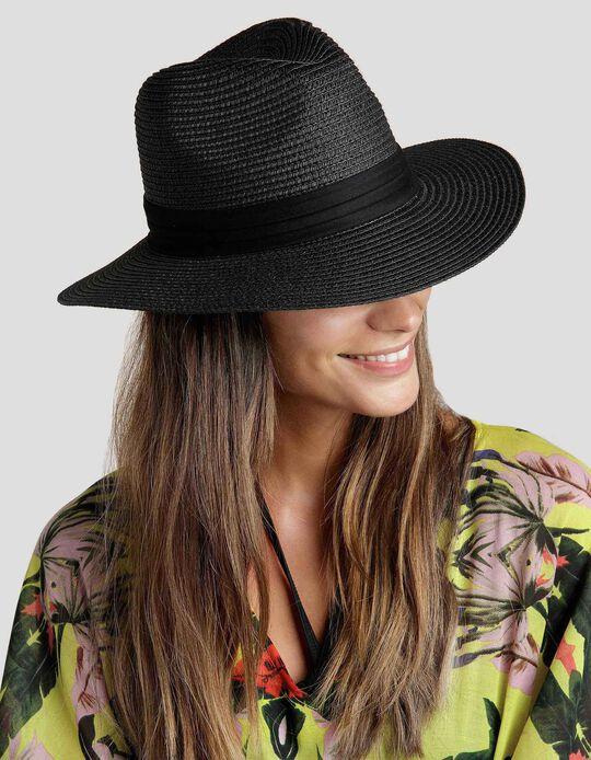 Chapéu de palha com fita