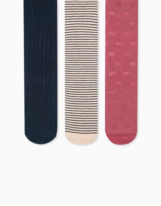 3 Collants de Malha para Menina, Multicolor