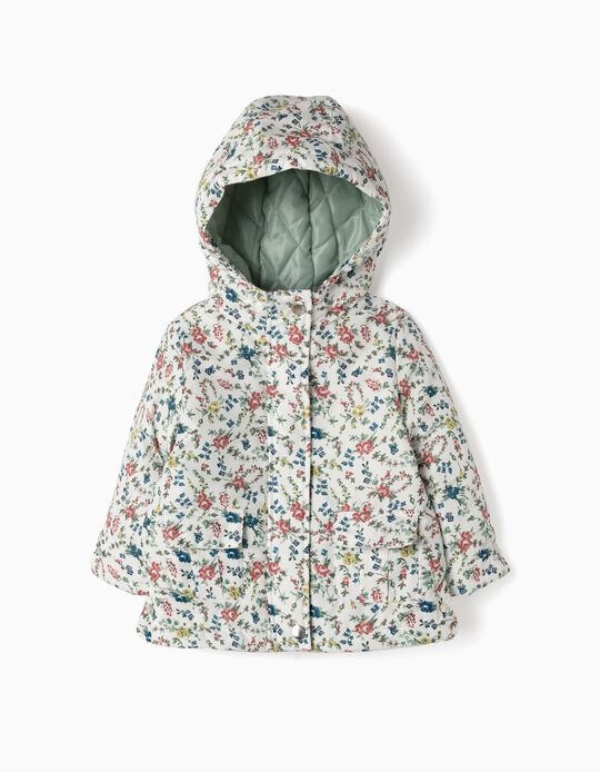 Padded Jacket for Baby Girls 'Flowers', White