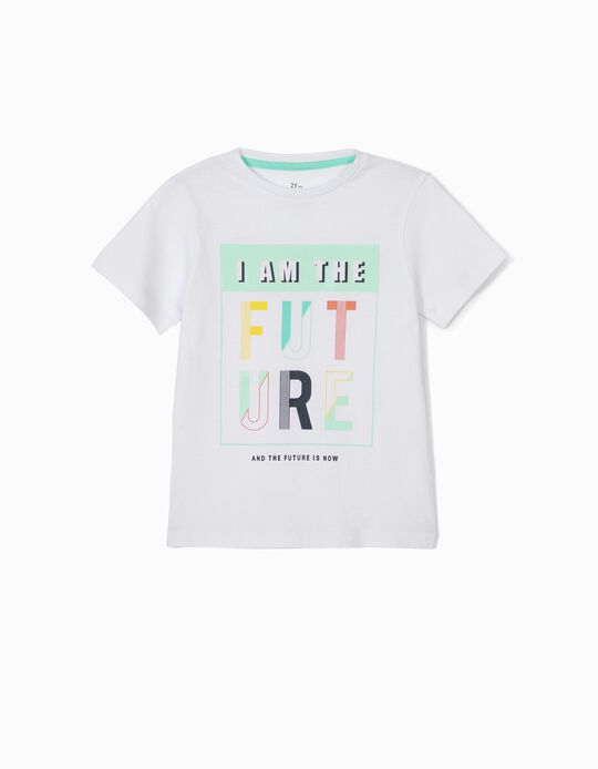 T-shirt para Menino 'I am the Future', Branco