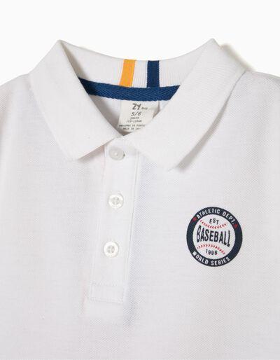 Polo Manga Curta Baseball Branco