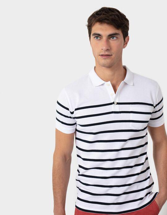 Striped Piqué Knit Polo Shirt, for Men