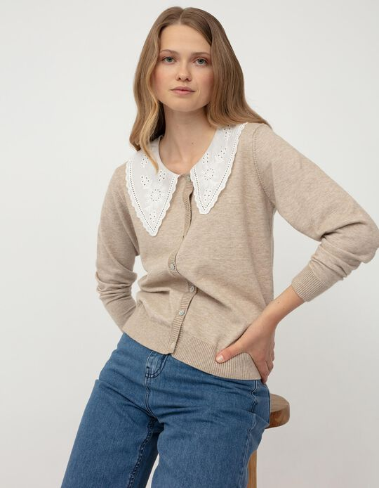 Embroidered Cardigan for Women, Beige