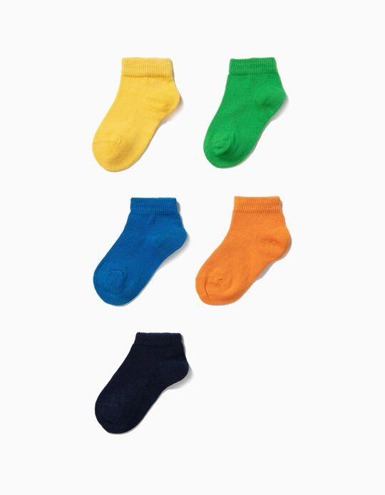 5 Pares de Meias Curtas para Bebé Menino, Multicolor