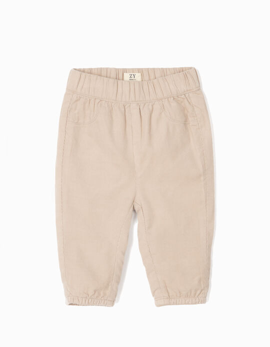 Corduroy Trousers for Newborn Boys, Beige