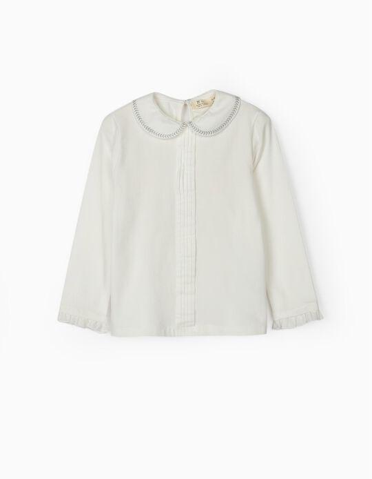 T-shirt Manga Comprida com Gola para Menina, Branco