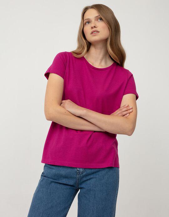 T-shirt Básica de Algodão, Mulher