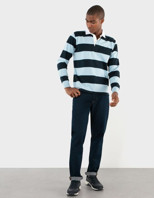 Long Sleeve Polo Shirt with Stripes