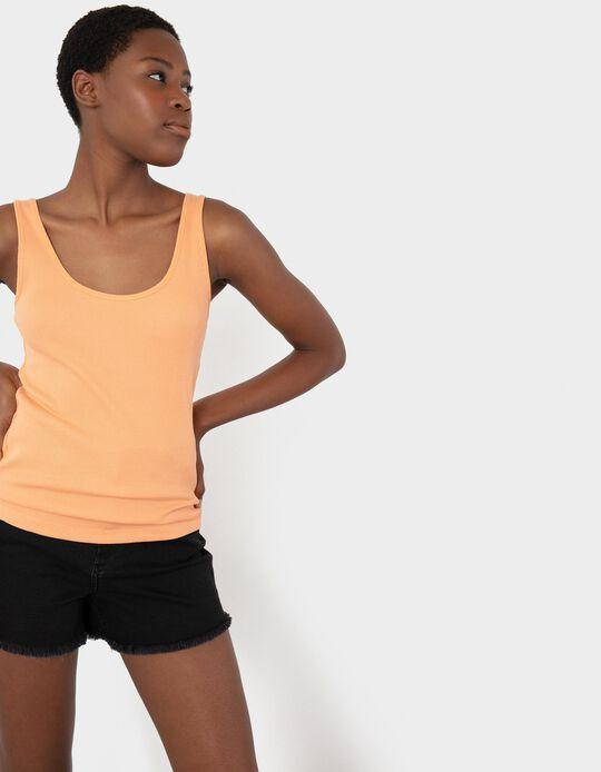 Rib Knit Top for Women, Orange